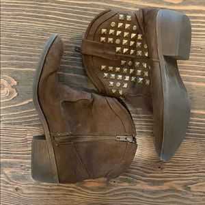 JustFab Brown Side ZIP Bootie W/ Gold Stud Accent